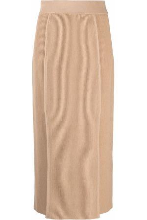 12 STOREEZ Women Pencil Skirts - Ribbed knit skirt - Neutrals