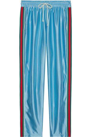 Gucci Men Sweatpants - Web stripe shiny jersey track pants