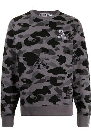A BATHING APE® Men Sweatshirts - Camouflage-print cotton sweatshirt - Grey