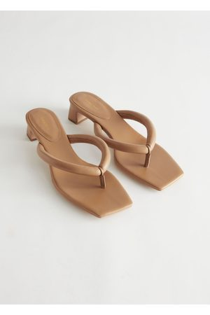 & OTHER STORIES Women Heeled Sandals - Thong Strap Heeled Leather Sandals