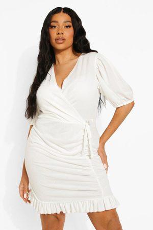 Boohoo Womens Plus Ruched Skirt Wrap Mini Dress - - 12