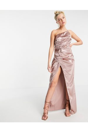 Little Mistress One shoulder drape maxi satin dress with split in oyster -Grey