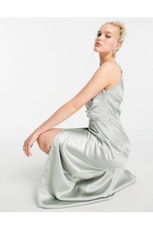 Little Mistress One shoulder drape maxi satin dress with split in sage