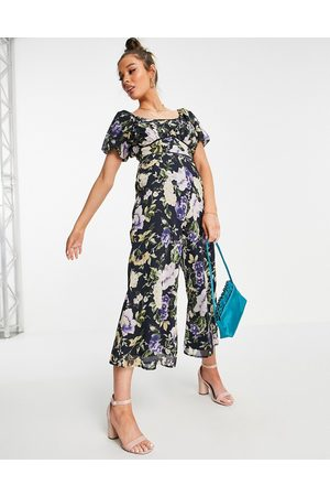 HOPE & IVY Puff sleeve wide leg jumpsuit in navy floral