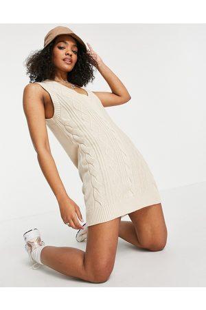 Monki Women Party Dresses - Robin organic cotton knitted v neck sleeveless mini dress in -Neutral