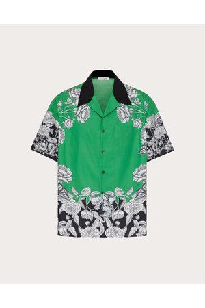 VALENTINO Men Shirts - Cotton Shirt With Dark Blooming Print Man / Cotton 100% 46