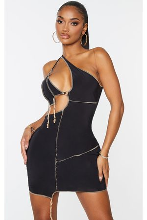 PRETTYLITTLETHING Shape Slinky Overlock Ring Detail Cut Out Bodycon Dress