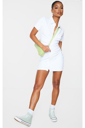 PRETTYLITTLETHING Ruched Button Down Collar Detail Towelling Bodycon Dress