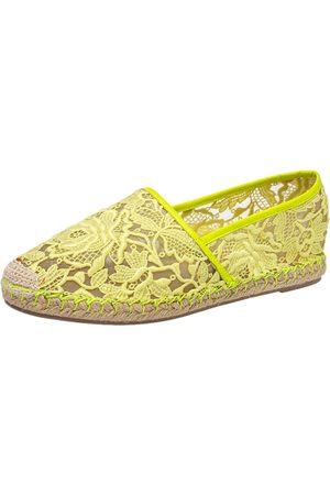 VALENTINO Women Espadrilles - Neon Lace Flat Espadrilles Size 38