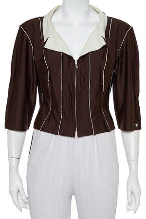 CHANEL Women Jackets - Knit Paneled Zip Front Cropped Jacket L