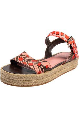 LOUIS VUITTON Floral Canvas Ankle Strap Espadrille Flat Sandals Size 39