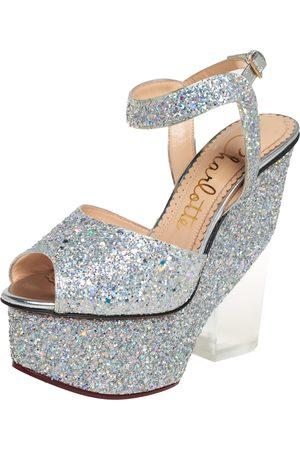 Charlotte Olympia Glitter Leandra Platform Ankle Strap Sandals Size 36.5