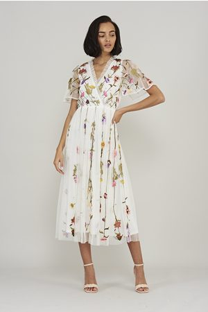Frock and Frill Women Printed Dresses - Lorella Floral Wrap Front Midi Dress