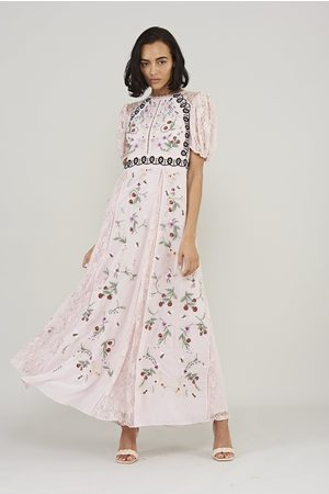 Frock and Frill Linette Embroidered Dress with Lace Panelling