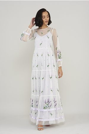 Frock and Frill Women Printed Dresses - Leilah Floral Embroidered Long Sleeve Maxi Dress