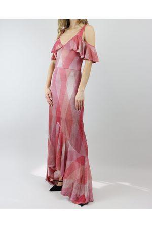 CECILIA PRADO Coral Disco Ruffle Off Shoulder Dress