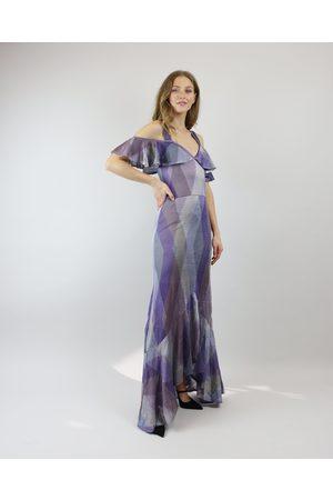 CECILIA PRADO Purple Disco Ruffle Off Shoulder Dress