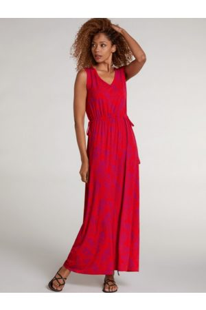 Oui Red Floral Belted Maxi Dress 72890