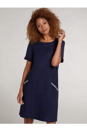 Oui Women T-shirts - Blue Diamante Pocket T-Shirt Dress 73323 5728
