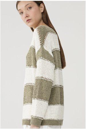 Luisa Cerano Women Tops - Block Stripe Crew Knit