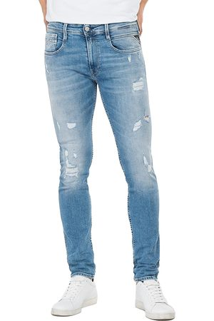 Replay Anbass 573 Bio Slim Fit Jeans - Light Rip & Repair