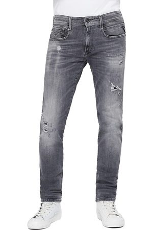 Replay Anbass Slim Jeans - 10 Year Grey Aged Rip & Repair