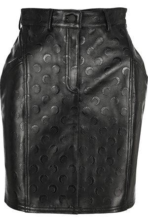 Marine Serre Moon print leather skirt