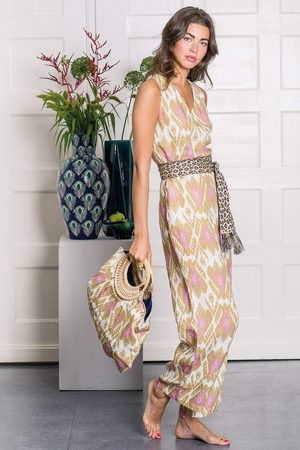Nimo with Love Women Jumpsuits - Lavender Jumpsuit in Ikat Olive