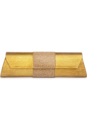 THALÈ BLANC Baguette Lizard Crystal: Gold Clutch Designer Evening Bag