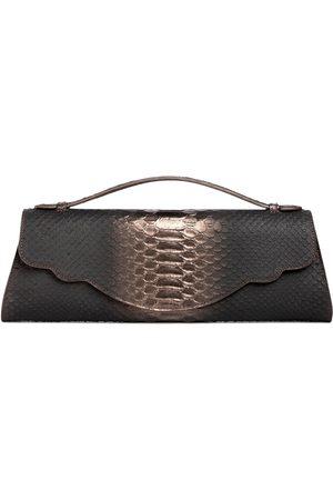 THALÈ BLANC Audrey Clutch: Snake Embossed Pewter Designer Evening Clutch Bag