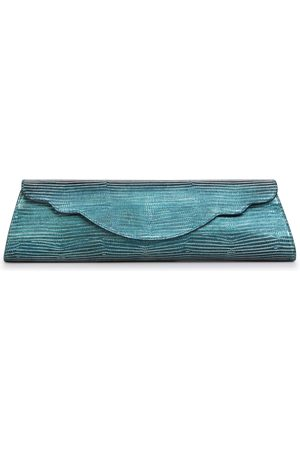 THALÈ BLANC Baguette Lizard Evening Bag: Teal Designer Clutch
