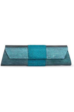 THALÈ BLANC Baguette Lizard Crystal: Teal Designer Clutch Bag