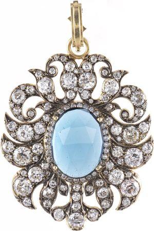Sylva & Cie Blue Topaz and Old Euro Diamond Pendant