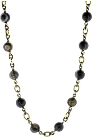 Sylva & Cie Striped Agate Beaded Necklace