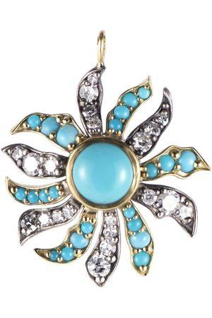 Sylva & Cie Turquoise and Diamond Flora Pendant