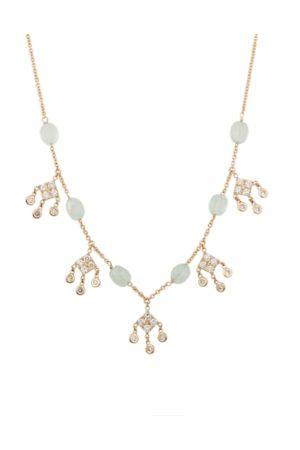 JACQUIE AICHE Aquamarine & Diamond Shaker Necklace