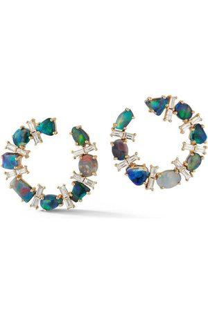 Katherine Jetter Opal and Diamond Baguette Crescent Hoop Earring