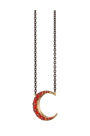 Monica Rich Kosann Fire Opal Midi Crescent Necklace
