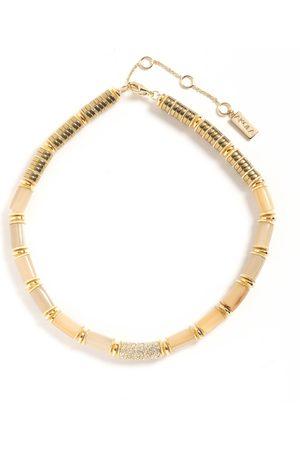 Akola Women Necklaces - Prianka Beaded Statement Necklace with Swarovski Crystal Pave, Hematite & Caramel Horn I