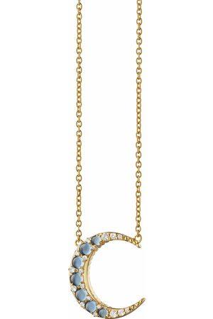 Monica Rich Kosann Aquamarine Midi Crescent Moon Necklace