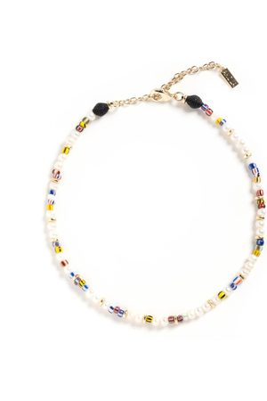 Akola Women Necklaces - Zelmya Beaded Necklace with White Pearl, Woven Raffia & Rainbow Colored Recycled Glass Beads I