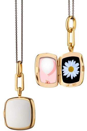 Monica Rich Kosann White Enamel Cushion Locket Necklace