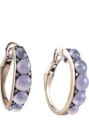 Sylva & Cie Chalcedony and Diamond Half Hoop Earrings