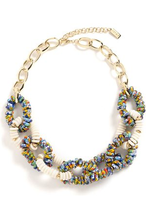 Akola Women Necklaces - Chain Link Statment Necklace with Confetti Glass & Natural Bone I