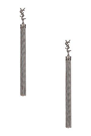 Saint Laurent Loulou Chain Earrings in Metallic Silver