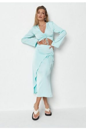 Missguided Blue Co Ord Satin Tie Side Midi Skirt