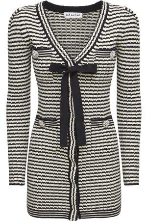 Self-Portrait Striped Knit Cotton Blend Mini Dress