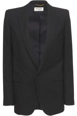 Saint Laurent Wool Gabardine One Button Blazer