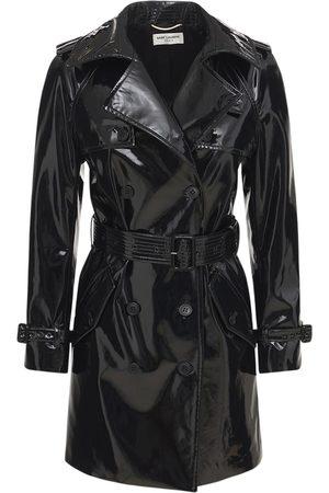 Saint Laurent Women Trench Coats - Stretch Varnish Vinyl Trench Coat
