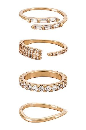 Ettika Crystal Embellished Ring Set in Metallic .